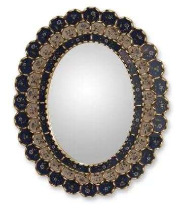 Blue Floral Halo Wall Mirror